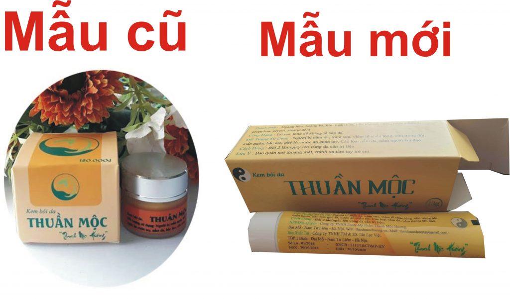 Thông báo thay đổi mẫu mã sản phẩm kem da liễu Thuần Mộc Thanh Mộc Hương